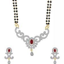 youbella jewellery women s pride american diamond gold plated mangalsutra pendant
