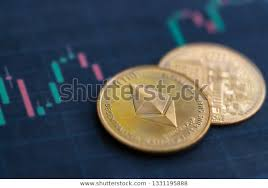 Ethereum Coins On Price Chart Background Stock Photo Edit