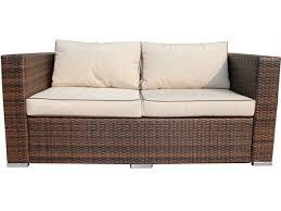 Ascot 2 Seat Rattan Garden Sofa in Chocolate Mix and Coffee Cream