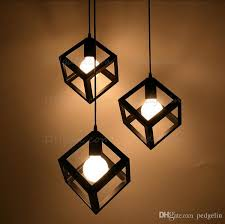 vintage american country style small black cube cage retro pendant lights lighting black white red color iron material multi pendant