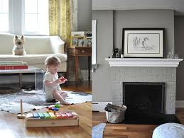 love the painted grey brick fireplace that matches the walls