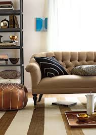 captivating living room design tufted. Fabulous Brown Vinyl Backseat Tufted Sofa With Open Living Room Cabinetry Shelves Also Pouffe In Captivating Design
