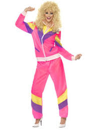 80s Height Of Fashion Shellsuit In Pink, Purple And Yellow For 1980s  Fashion Fancy Dress. 80s Retro Shellsuit Costume
