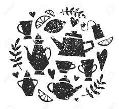 お茶会の手書き落書きのセット紅茶レタリングベクター タイポグラフィ要素スケッチのポットカップ