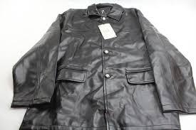emporio armani fashion at087 leather jacket black
