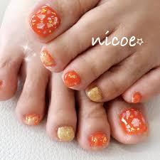 フットラメシェルオレンジゴールド nicoeニコエのネイル