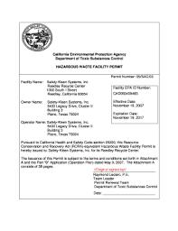 Saftey Kleen Systems Safety Kleen Hazardous Waste Permit Pdf Fill Online