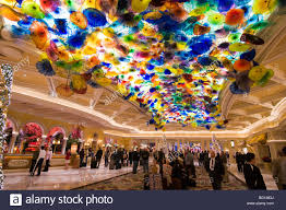 glass flower ceiling by dale chihuly bellagio hotel lobby the strip las vegas