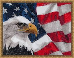 c1574 large eagle with american flag ii