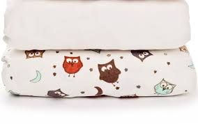 fitted cot bed sheets 2 pack plain and owls
