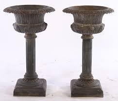tall antique cast iron urns pair new