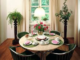 small dining room decor  green clothes round dining table