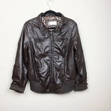 details about ci sono by cavalini brown faux leather jacket size 1x euc plus size womens