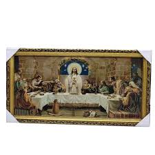last supper gold wood frame embroidery home decor gift 85x45cm