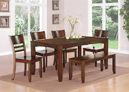 rectangle dark brown glossy wooden dining