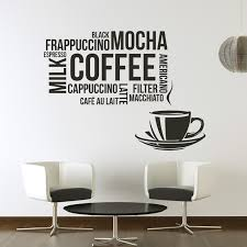 coffee types wall sticker food drink e wall decal kitchen cafe home decor