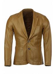 stereo patch pocket solid color lapel long sleeves pu leather blazer for men ginger