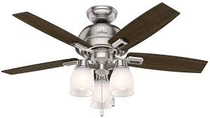 hunter 52230 donegan 44 inch 3 led light ceiling fan in brushed nickel with 5 dark