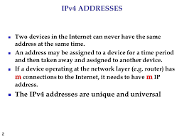 addressing and routing topics discussed in this section ppt the ipv4 addresses are unique and universal