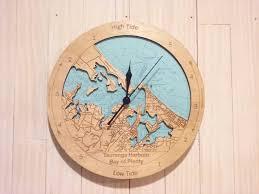 wooden tide clock tauranga harbour detail