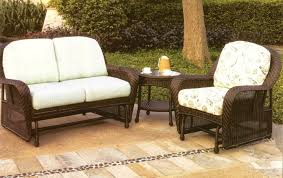 exclusive rattan wicker patio outdoor glider and white cushioned outdoor glider
