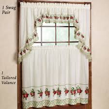 Red Swag Kitchen Curtains Astounding White Jcpenney Kitchen Curtain Made Of Polyester 1 Swag