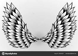 пара распространения ангельских крыльев тату дизайн векторное