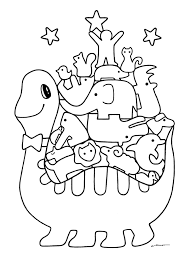 無料ダウンロードぬりえ3恐竜とどうぶつたちの積み木 カフェデ