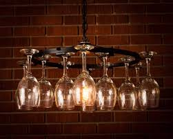 wine glass chandelier wine rack light