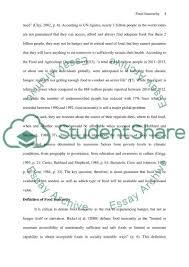 food insecurity definition reasons causes and status essay  text preview