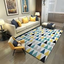 fashion blue yellow grey triangles door mat living room bedroom parlor area rug anti slip decorative
