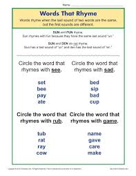 This rhyming words ks1 resource is ideal for learning rhyming words with only one syllable. Words That Rhyme Phonics Worksheets