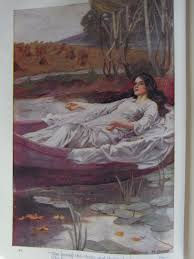 she loosed the chain and down she lay the broad stream bore her far away the lady of shalott painting by arthur a