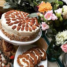 pumpkin pecan cake from azra s terranean cuisine and flowers from consider the lilies both vendors