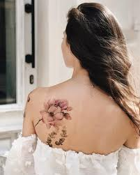 временная татуировка фиолетовое настроение нежные пионы цветная