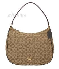 NWT Coach F29959 Signature Jacquard Zip Shoulder Hobo Bag Khaki Brown  275