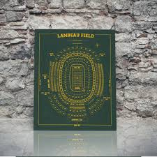 Greenbay Packers Lambeau Field Sign Print Seating Chart On