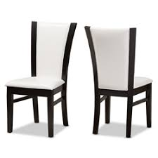 leather restaurant chairs. Baxton Studio Adley Modern And Contemporary Dark Brown Finished White Faux Leather Dining Chair Set Of Restaurant Chairs L