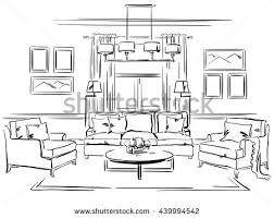 interior design sketches living room. Interior Design Of The Classic Living Room With Sofa, Arm Chairs And Wall Frames. Sketches
