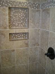 shower tile installation with glass mosaics