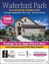 armadillo homes realtor grand opening event at waterford park