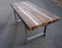 industrial metal and wood furniture. Reclaimed Wood Dining Table And Double Metal Legs : . Industrial Furniture