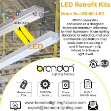brandon lighting 48 in led retrofit kits convert fluorescent strip fixtures leds
