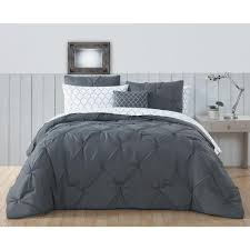 bradford pintuck biab 8 piece steel grey queen comforter 18 4005 tpx