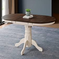 corliving dillon dark brown and cream wood extendable oval pedestal dining table