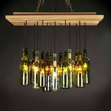wine lighting. wine bottle chandelier rough reclaimed wood is the ideal contrast against spectacular illumination and lighting t