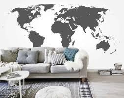 Schilderijen Winkelexpert Vlies Fotobehang Wereldkaart Grijs
