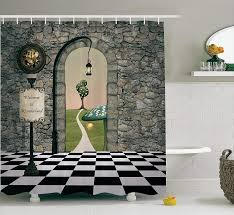 detail feedback questions about bathroom shower curtain alice in wonderland decorations welcome wonderland black and white floor tree landscape on