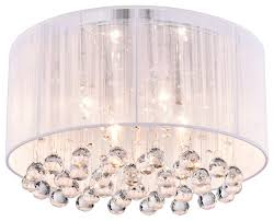 belle 4 light white thread and chrome flushmount with hanging crystals