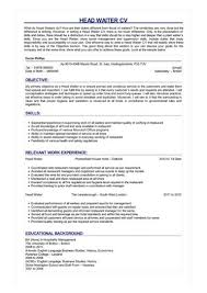 cv for a waiter sample head waiter cv